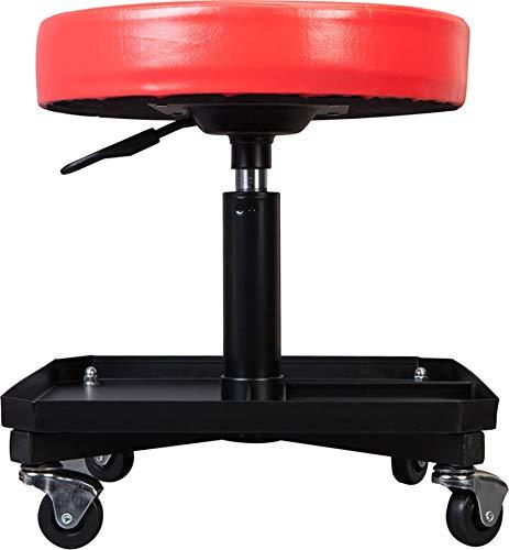 Padded Adjustable Mechanic Stool Torin Big Red Rolling Pneumatic Creeper Garage//Shop Seat Red