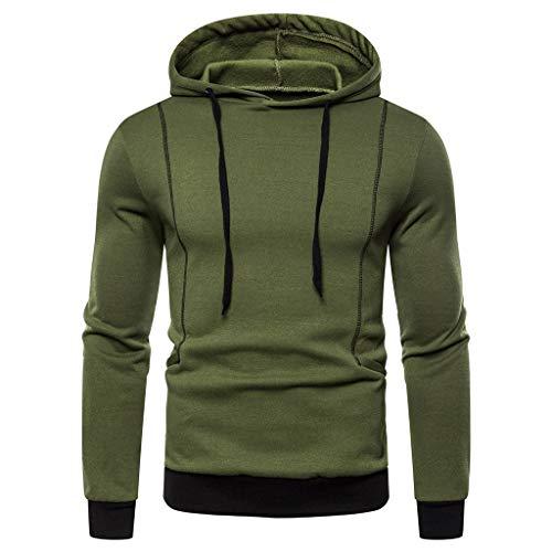 Hopeg Men Autum Winter Long Sleeve Hooded Sweatshirt Printed Warm Outwear Tops Blouse Army Green