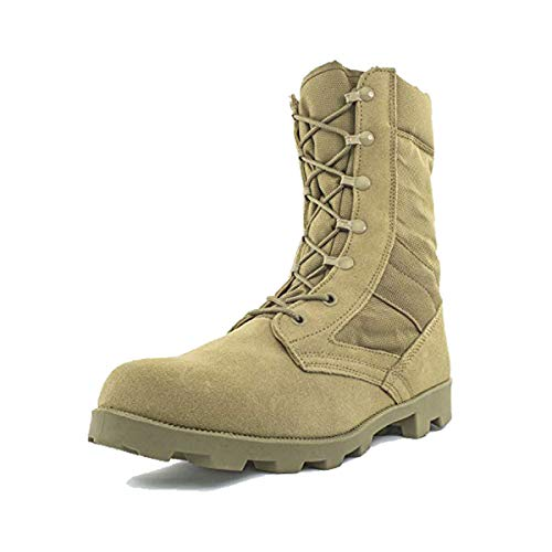 "Bufferzone Men's 9"" Tan Military Tactical Boot with Zipper"