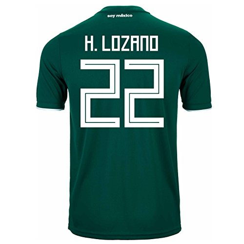 adidas H. Lozano #22 Mexico Home Soccer Stadium Men's Jersey World Cup Russia 2018 (Mexico Home Jersey Shirt)