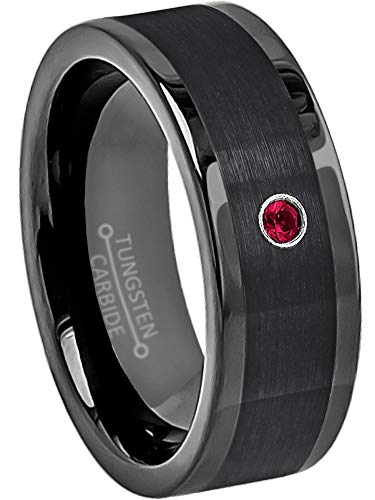 (8mm Pipe Cut Black Tungsten Wedding Band - 0.07ct Ruby Solitaire Ring - July Birthstone Ring-12)
