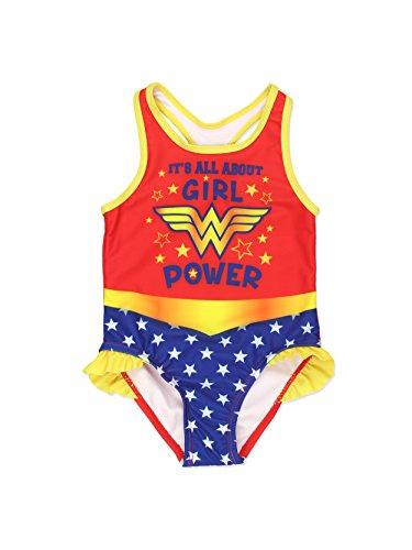 Warner Bros Wonder Woman Girls Swimwear Swimsuit (4T, Red/Multi)