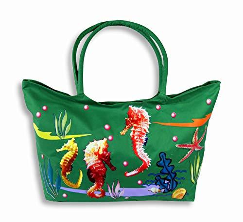 Water Resistent Jumbo Green Canvas Beach Tote Bag Seahorse Design Zipper Closure 24 x 15 x 6