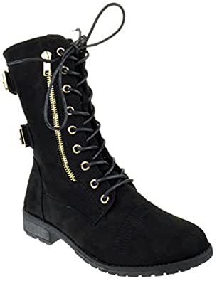 Mango 73 Womens Suede Lace up Milatary Boots Black 5.5