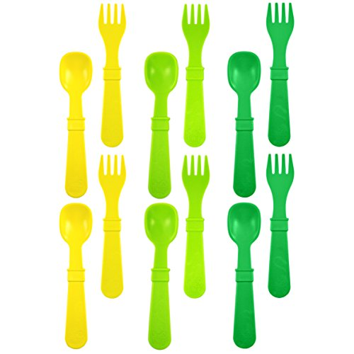 Re-Play Made in USA 12pk Toddler Feeding Utensils Spoon and Fork Set for Easy Baby, Toddler, Child Feeding - Yellow, Lime, Kelly Green (Stem) 6 Spoons/6 Forks