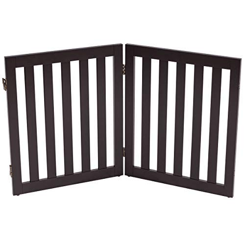 Giantex 24'' Wooden Doge Gate, Configurable Freestanding Pet Gate for Small to Medium Sized Pets, Step Over Fence, Foldable Panels for House Doorway Stairs Extra Wide Pet Safety Fence (40'' W, Brown)