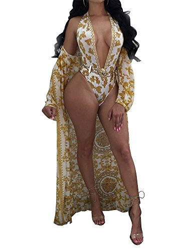 Lovaru Women's New Colorful Dyeing Bikini One Piece Swimsuit+Ponchos Cover Ups (X-Large, Gold)