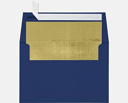 A7 Foil Lined Invitation Lined Envelopes w/Peel & Press (5 1/4 x 7 1/4) - Navy Blue w/Gold LUX Lining (50 Qty.) | Perfect for Invitations, Announcements, Sending Cards, 5x7 Photos | 60lb. Paper by Envelopes.com