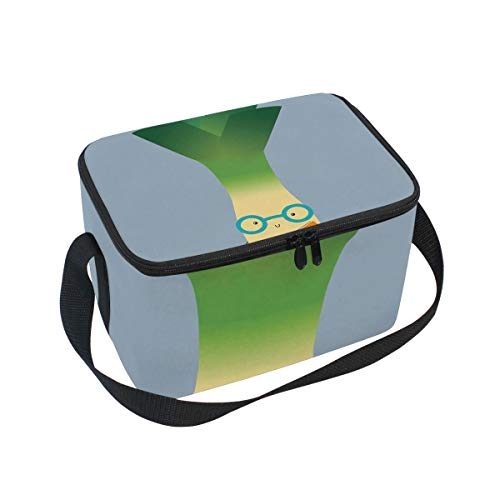 Lunch Bag Funny Leek, Large Insulated Bento Cooler Box with Black Shoulder Strap for Men Women Kids, BaLin 10
