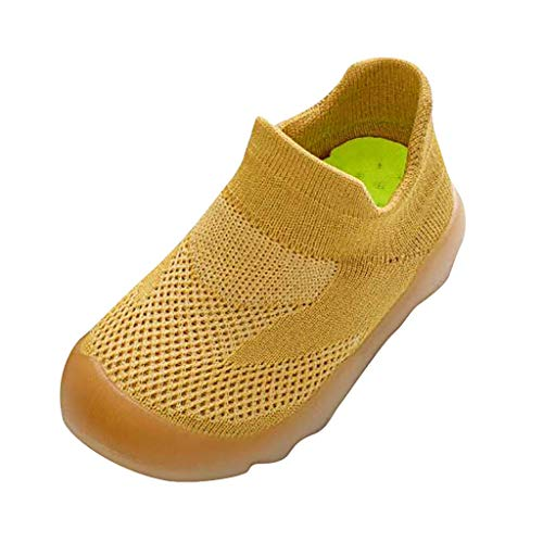 Sttech1 Baby Boys Girls Knit Rubber Toddlers Kids Anti-Slip Floor Slipper Childrens Breathable Socks Shoes Boots Brown