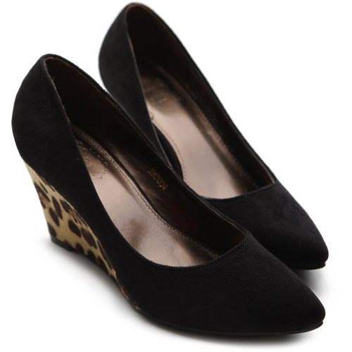 Faux Ollio Closed Color Women's Mid Toe Pump Platform Black Heel Wedge Multi Shoe Suede qt1qraxUw
