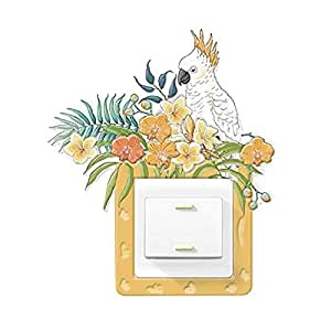 3D Home Creative Personality Cartoon uminous Switch Wall Stickers Switch Protection Cover-Parrot garden