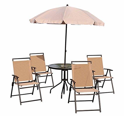 Conjunto Muebles Jardin 4 Sillas Mesa de Comedor Redonda y Sombrilla por sólo 139,90€