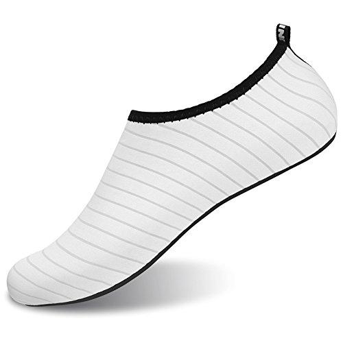 Barerun Barfuß Quick-Dry Wasser Sportschuhe Aqua Socken für Schwimmen Beach Pool Surf Yoga für Frauen Männer Reines Weiß