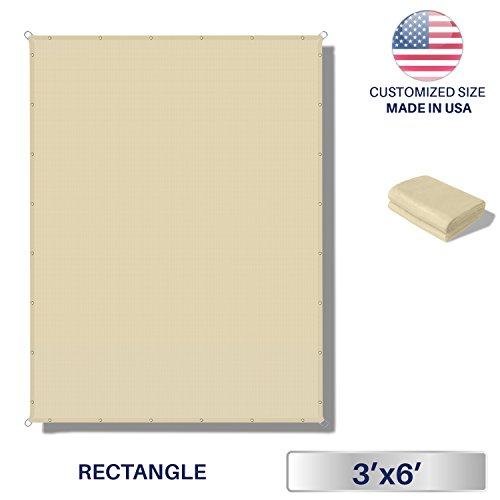 Windscreen4less 3'x6' Waterproof Sun Shade Sail Canopy Rectangle Sail Awning Tarp UV Shelter for Outdoor Patio Backyard - Custom Size Available - Beige Color