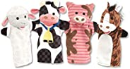 Melissa & Doug Farm Friends Hand Puppets - The Original (Set of 4 - Cow, Horse, Sheep, and Pig - Soft Plus