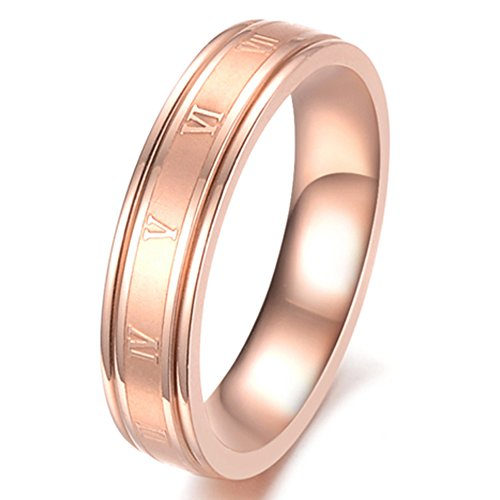 - Fashion Month Women 4.5mm Stainless Steel Roman Numerals 18K Rose Gold Ring Matte Finish Center Engagement Wedding Band