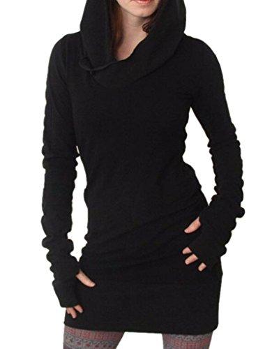 Damen Mode Bodycon Kapuzenpullover Langarm Hoodie Tunika Longshirt Kleider Frauen Sommer Hoody Kleid Casual Sweatshirt