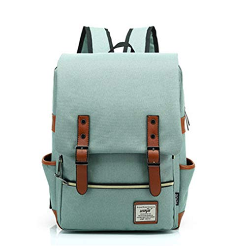 Vintage Laptop Backpack Canvas Bags Oxford Travel Leisure Backpacks Retro Casual Bag School Bags Army Green - Canvas Oxford Green