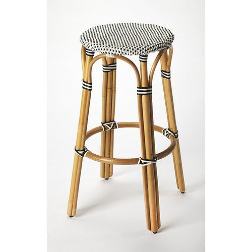 Homey Delight Bar Stool Transitional Style Thick Bent Rattan Weather Resistant Woven Plastic Furniture