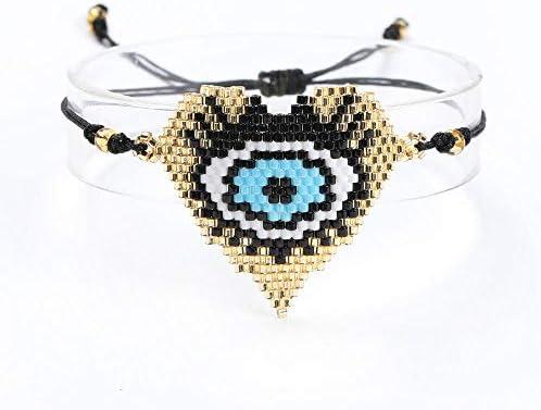 AOTEX Armbänder Armreifen Für Frauen Miyuki Perlen Evil Eye Herz-Muster Handgewebte Quaste Charme Böhmisches Einstellbar Retro Cute Persönlichkeit Simple Geschenk Weiblich