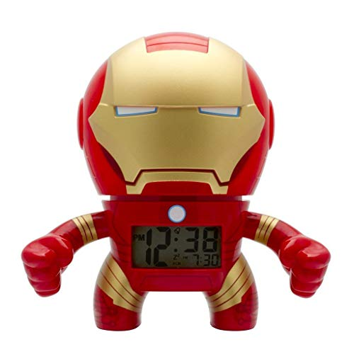 BulbBotz Marvel Iron Man Kids Light up Alarm Clock | red/Gold | Plastic | 7.5 inches Tall | LCD Display | boy Girl | Official ()