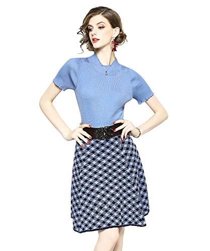 LAI MENG FIVE CATS Womens Short Sleeve Geometric Print Jersey Dress Casual Work 2-Piece (60s 2 Piece Dress)
