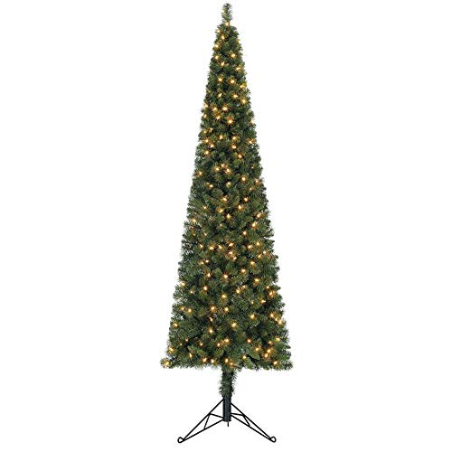 Home Heritage 7 Foot Artificial Pine Corner Christmas Tree with LED White Lights and Stand (Corner Tree Artificial Christmas)