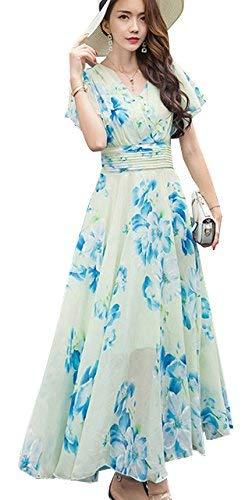 Gasa V De White Escote Elegante Marca Cóctel Línea Corta Fiesta Manga En Blumen Falda Una Vestido Damas Princesa Playa Mode Flores Noche tqEzf
