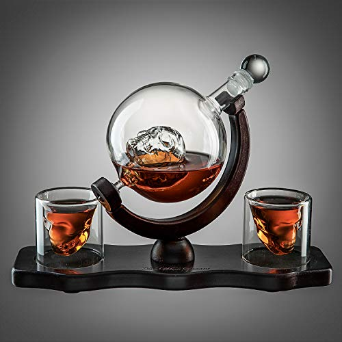 Skull Decanter Set With 2 Skull Shot Glasses - by The Wine Savant - and Beautiful Wooden Base - By Use Skull Head Cup For A Whiskey, Scotch and Vodka Shot Glass, 850ml Decanter 3 Ounces Shot Glass (Glasses Skull)
