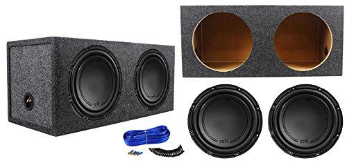 "Polk Dual Subwoofers ((2) Polk Audio DB1242DVC 12"" 2220 Watt Car Subwoofers+Sealed Sub Box Enclosure)"