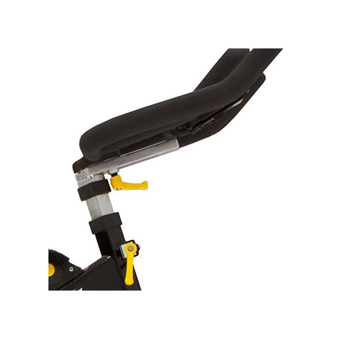 41F RfSOYDL Volante inercia de 20kg para un pedaleo estable. Freno magnético con selector de 16 niveles y freno de emergencia Monitor LCD multifunción retroiluminado. Muestra RPM, tiempo, calorías, distancia, vatios y pulso.