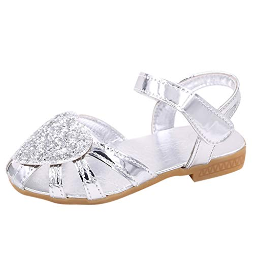 Tantisy ♣↭♣ Girls Bling Crystal Sandals/Sequins Princess Shoes/Sweet Outdoor Single Shoes (Toddler/Little Kid/Big Kid) Silver Abbey 6 Light Single