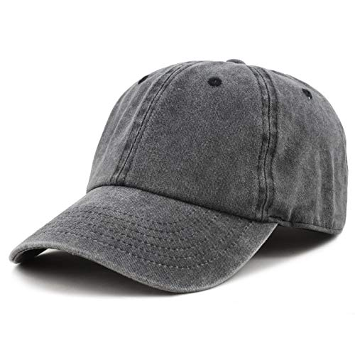 (The Hat Depot 100% Cotton Pigment Dyed Low Profile Six Panel Cap Hat (Black) )