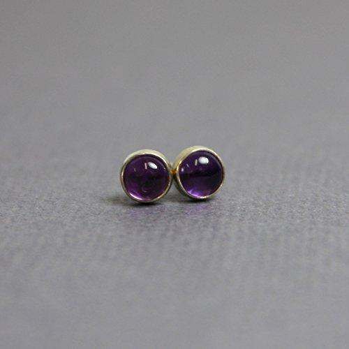 Amethyst Stud Earrings, Purple 4mm Sterling Silver Post Earrings
