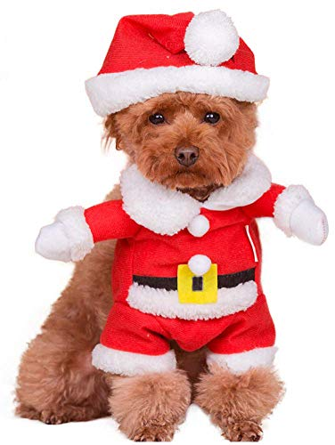 MaruPet Autumn/Winter Overall Santa Claus Costume Fleece Warm Four-Leg Jumpsuit Cosplay Outfit Custome for Teddy, Pug, Chihuahua, Shih Tzu, Yorkshire Terriers, Papillon Red -