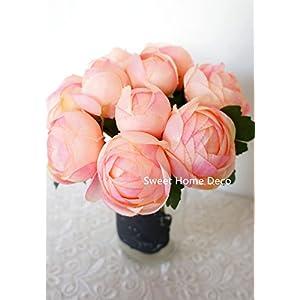 Sweet Home Deco 9'' Soft Silk Ranunculus Flower Bouquet (10 Stems/10 Flower Heads) Wedding/Home Decorations (Peach) 5