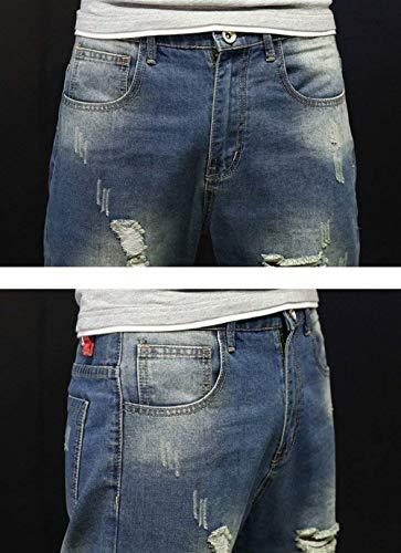 Ragazzi Slim Strappati Denim Da Casual Pantaloni Cono Stil3 Jeans Classiche Larghi Uomo Con In Fit O7x18