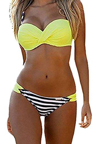 Happy Sailed Women Push Up Two Piece Bikini Swimsuits Bandeau Bathing Suits