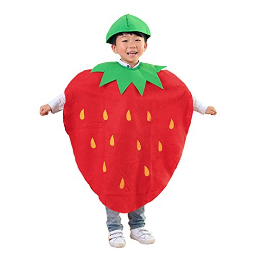Multifit Kids Halloween Strawberry Cloak Robe Party Cape Costume Accessory(Red 1) -