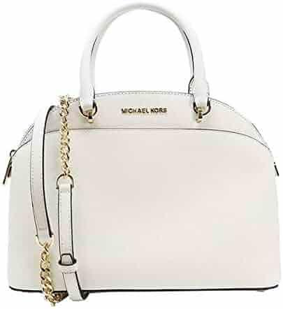 Michael Kors Emmy Large Dome Saffiano Leather Satchel Crossbody Bag Purse (Optic White)