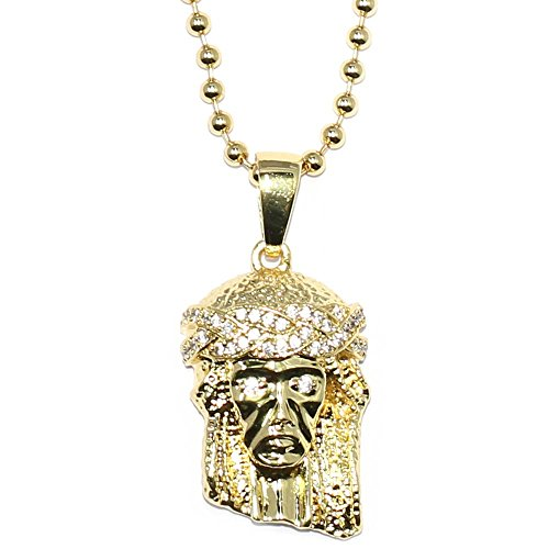 Mega Jewellery 18K Gold Plated Micro Jesus Piece Iced Out Eyes Crown with ball chain necklace – 30 – Best Quality