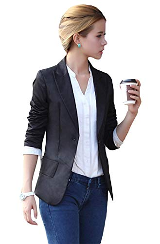Tailleur Blazer Tasche Donna Monocromo Slim Casuali Primaverile Elegante Sudore Fit Giacca Lunga Autunno Button Schwarz Fashion Manica Da Business Cappotto Classiche Con ETwTq0