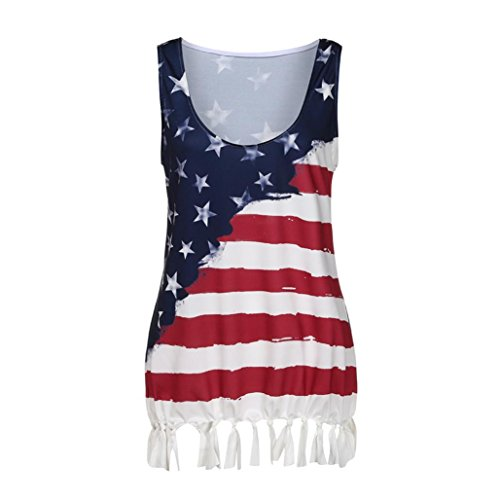 Pengy Women's Summer American Flag Printed Plus Size Tank Tops Vest Tassel Sleeveless Boat Neck Blouse Cami Tops (Multicolor, 3XL)