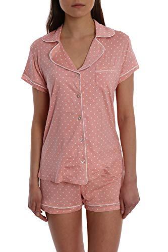 (Women's Printed Short Sleeve Button Down Sleep Shirt & Shorts PJ Set - Pink Dot - X-Large)