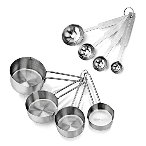 New Star Foodservice 42917 Commercial Quality Stainless Steel Measuring Cups and Spoons Combo Set