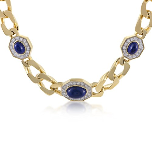 Womens 18K Yellow and White Gold Diamond and Lapis Lazuli Choker Necklace by Luxury Bazaar (Image #4)