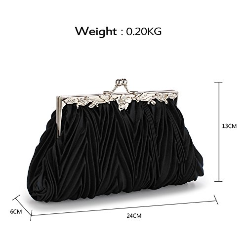 Size Wedding Design With Bag 1 Bridesmaid Satin Black Designer Flower New Diamante Clutch Purse Chain For Large xOAtASq