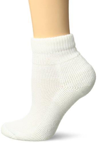 Thorlos Women's  HPMW Diabetic Thick Padded Low Cut Sock, White, Medium