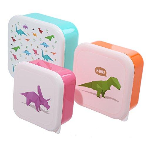 Dinosaurier-Brotdosen 3er Set / Frühstücks-Box für Kinder/ Jungen (Schule/ Kindergarten) Puckator